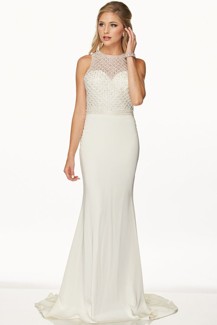 Elegant Floor Length Dress With Fully Beaded Bodice And Back Perfect Second Wedding Or Beach
