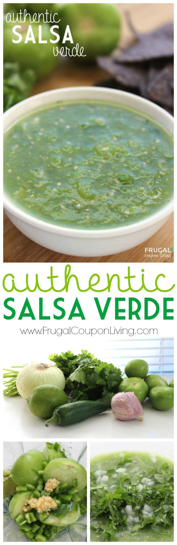 Salsa Verde - Authentic Mexican Salsa Recipe on Frugal Coupon Living. Green Salsa Recipe. Restaurant Salsa recipe.