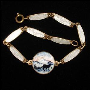 Dainty Bracelet Sterling Silver Enamel Svein Kirkhus Norway Vintage