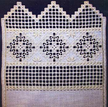 """This lovely #Hardanger design would be perfect for a towel edge or expand it to a long #runner!  As shown on 22-count fabric the finished design is 11"""" x 34"""".  The stitches used include kloster variations, double running stitch, eyelets, cable stitch and #cutwork with #weaving. #stitching #embroidery #needlework"""