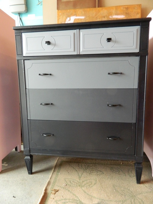 grey ombre refurbished dresser!