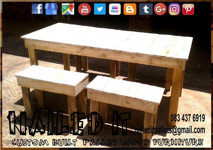 Pallet wood outdoor table & benches. 4 seater. Raw wood finish #palletoutdoorfurniture #palletpatiofurniture #palletpatioset #palletpatiotable #palletoutdoorsetting #naileditcustombuiltpalletfurniture #naileditpalletfurniture #nailedcustompalletfurniture #custompalletfurnituredurban #palletfurnituredurban