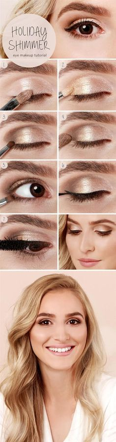 Step by step- How to do a slightly smoky, shimmery eye look in a few short steps. .