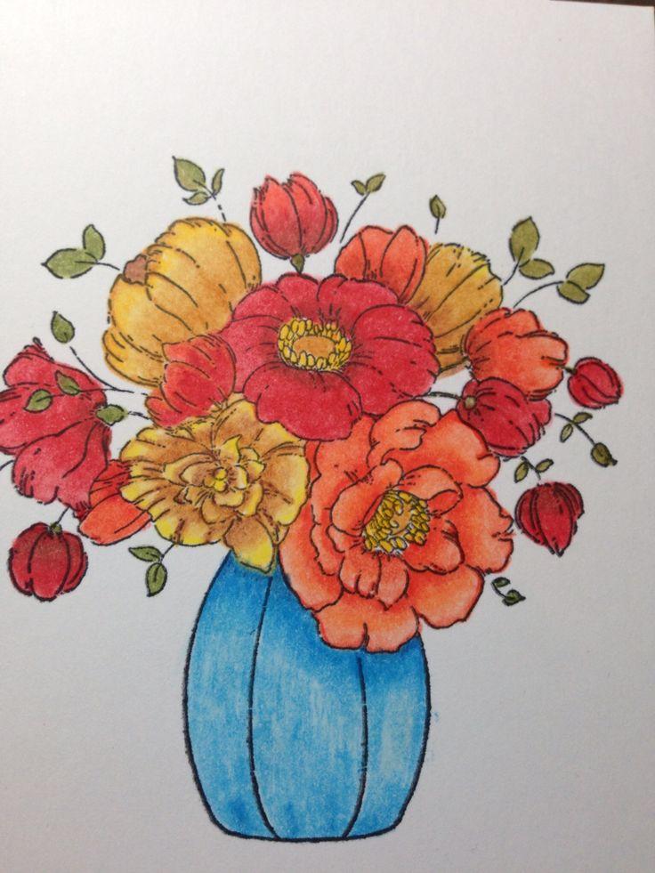 "Penny Black ""Centerpiece"".  Panel was colored with Prismacolor pencils."