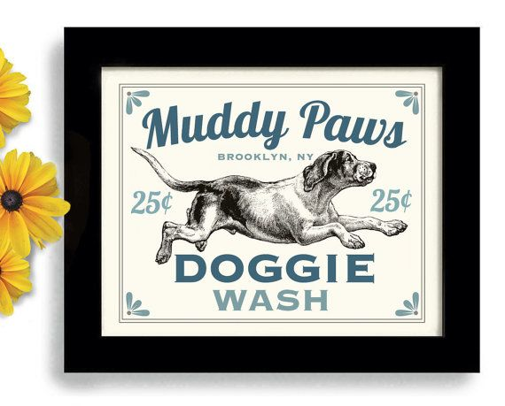 Laundry Room Decor Dog Art Dog Wash Art Sign Wall Art by DexMex