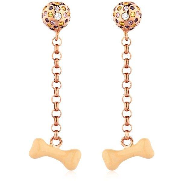 Ilenia Corti Vernissage Women Bone Earrings ($750) ❤ liked on Polyvore featuring jewelry, earrings, rose gold, earring jewelry, pendant earrings, chain earrings, lightweight earrings and pendant jewelry