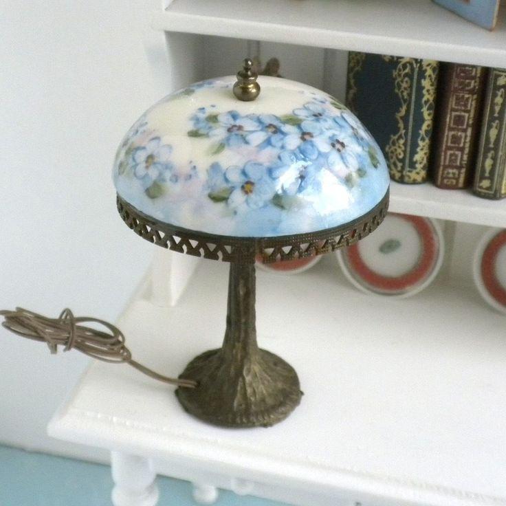 Dollhouse Lamp Miniatures: NiGlo Hand Painted Porcelain Lamp Blue Flowers Dollhouse