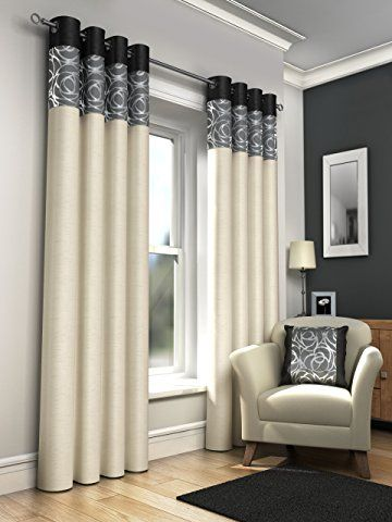"""ONE PAIR OF FAUX SILK FULLY LINED EYELET CURTAINS 46"""" X 54"""" APPROX. FOIL PRINT CREAM WITH BLACK GREY AND SILVER"""