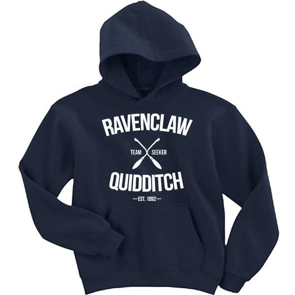 Ravenclaw Quidditch Team Seeker Adult Unisex Navy Hoodie ($25) ❤ liked on Polyvore featuring tops, hoodies, navy sweatshirt hoodies, hooded pullover, navy hooded sweatshirt, navy hoodies and navy blue hoodie