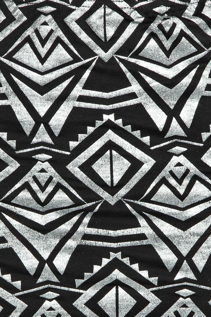 silver foil print aztec skirt detail