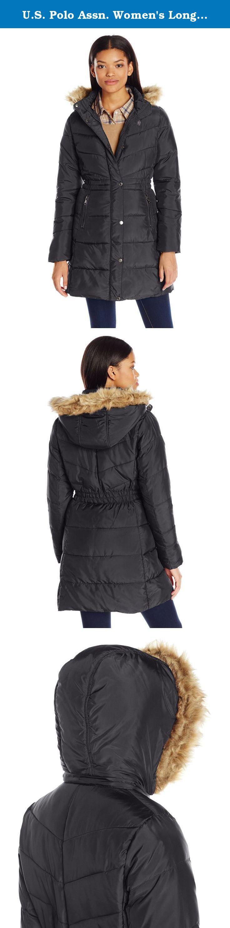 U.S. Polo Assn. Women's Long Puffer Coat with Faux Fur