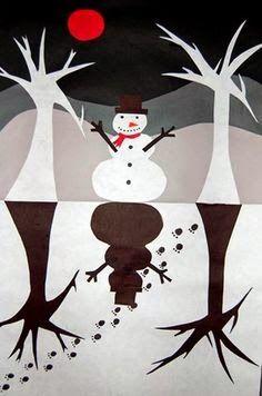Onderwijs en zo voort ........: 0804. Wintercrea : Sneeuwpop silhouet