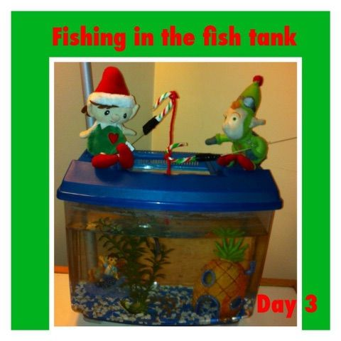 Elf on the shelf ideas Fishing in the fish tank candy cane fishing pole
