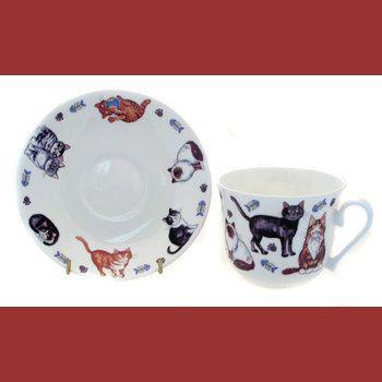 Усатые коты/Чайная пара для завтрака 500мл