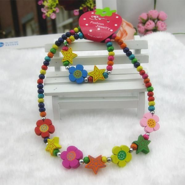 Wholesale Rabbit - Buy New Arrival Colorful Flower/Rabbit Wooden Jewelry Sets for Kids Beads Necklace+Bracelet Christmas Gifts KJS006, $0.92 | DHgate