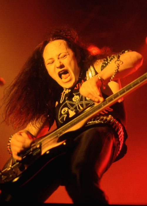 Cronos (born Conrad Thomas Lant)  The Venom frontman decided early on with Venom that the band would need stage names to match their black proto-thrash metal and their dark imagery and lyrics. He has said that if you're going to go there, go all in. Conrad took the name Cronos from the titan of Greek mythology. [Photo: Getty Images]