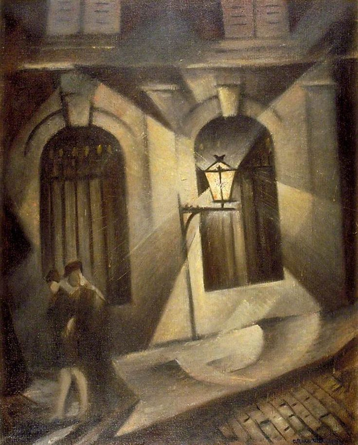 Sinister Paris Night by Christopher R. W. Nevinson (British 1889-1946)