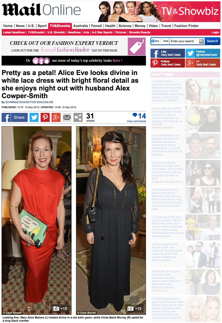 "Mary Alice Malone Jr, Co-Founder of Malone Souliers​ in Daily Mail Celebrity​.   ""Pretty as a petal! Alice Eve​ looks divine in white lace dress with bright floral detail as she enjoys night out with husband Alex Cowper-Smith.  The exclusive event, which was also attended by Cressida Bonas​ and Poldark star Heida Reed, was held in honour of Georgina Chapman and Keren Craig, co-founders of Marchesa​.  Looking fine: Mary Alice Malone (L) looked divine in a red satin gown."" - Daily Mail…"