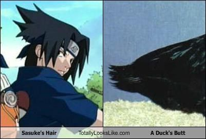 Sasuke's Hair Totally Looks Like A Duck's Butt. DUCK BUTT. HE HAS A DUCKBUTT
