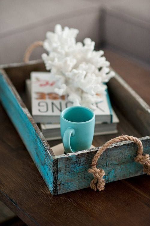 Coral decor in Turquoise tray | Beach House | La Beℓℓe ℳystère