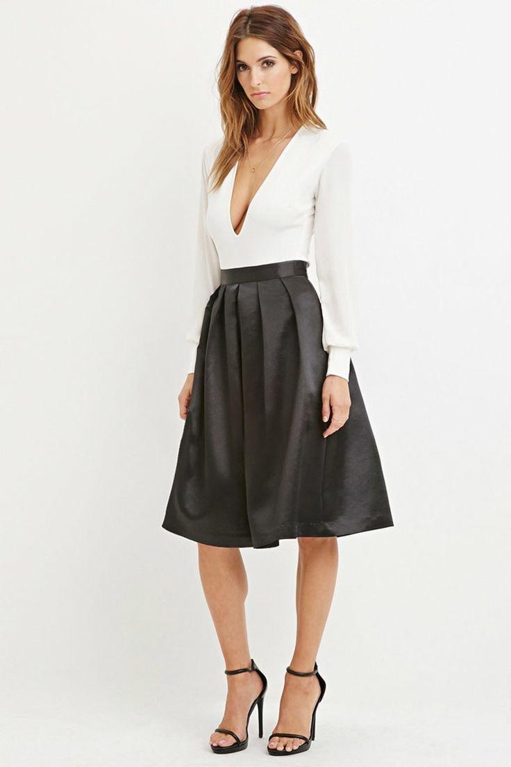 Contemporary Sateen Pleated Midi Skirt