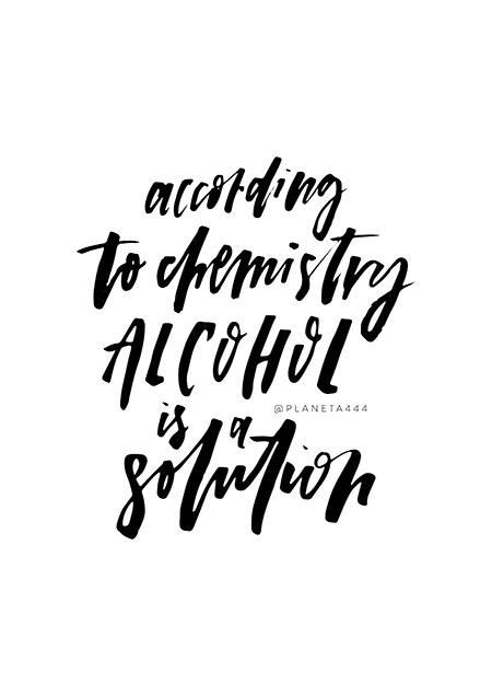 According Chemistry Alcohol Solution Handlettered Funny Black White