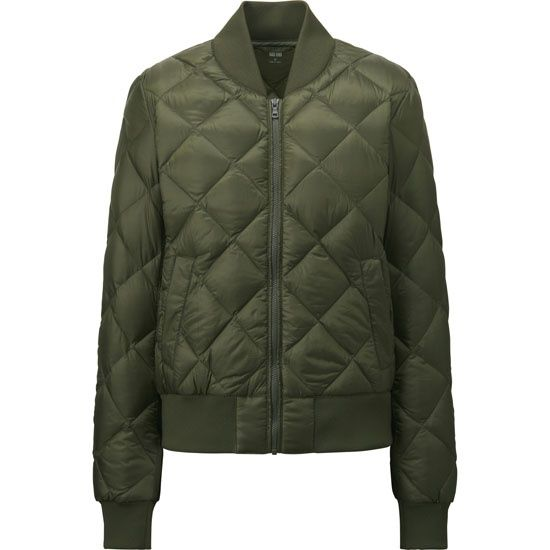 Куртка-бомбер оливкового цвета стеганая ромбами Uniqlo