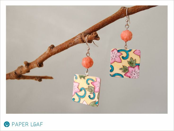 Sakura flowers | handpainted paper earrings with carved coral beads | Paper Leaf
