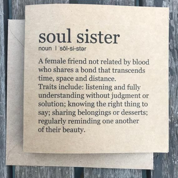 Soul Sister card – Victoria Sheldon