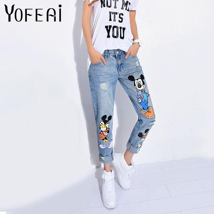 YOFEAI 2017 Boyfriend Jeans Mujer Denim Casual Tobillo-Longitud Pantalones de Las Mujeres de Impresión Pantalones Harem Ocasional Pantalones Femeninos Más El Tamaño 4XL 5XL
