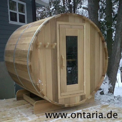 Barrel-Sauna Ø180xL180 cm - 4 People If you are not willing to compromise in quality: Original Canadian Starter Barrel Sauna Package for 4 people with rustic wood-burning heater. Assemble it and start to relax!
