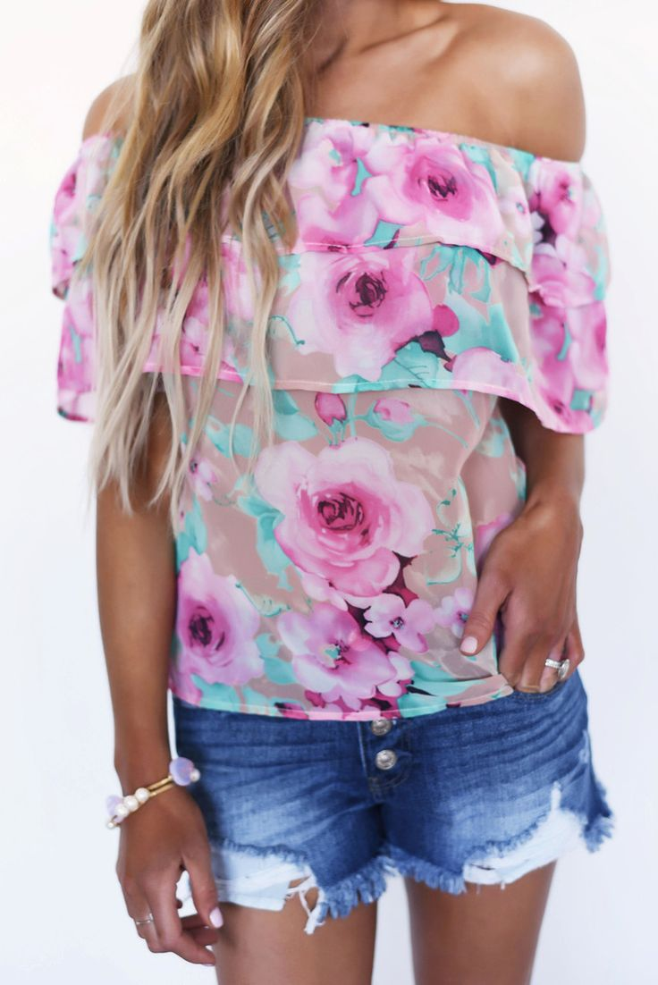 Pink/Teal Floral Off The Shoulder Top - Dottie Couture Boutique