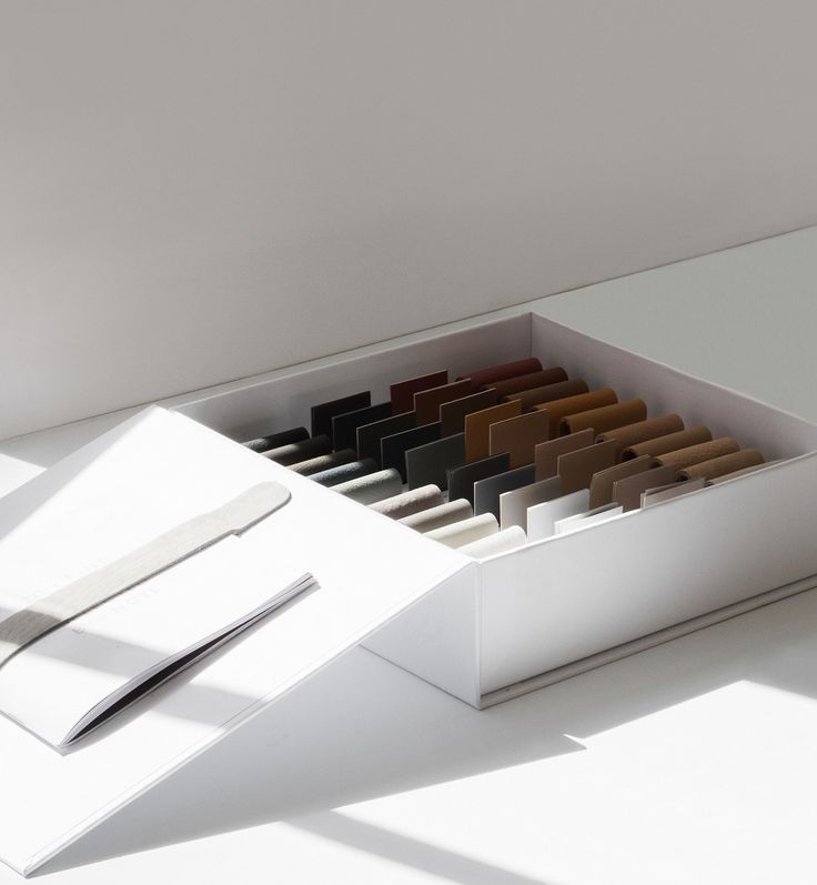 Colour box of 20 new natural Sorensen Leather colours curated by Note Design Studio. Photo Norm Architects.