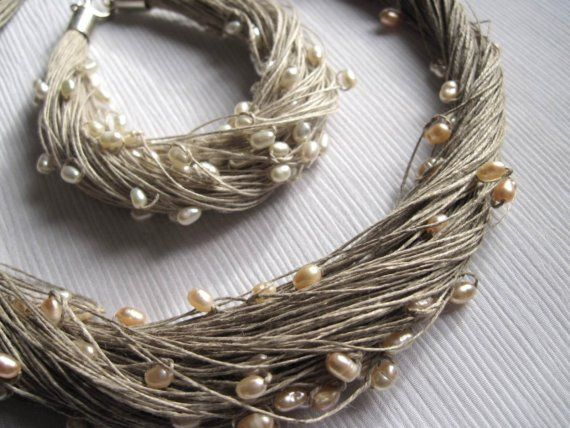 Natural Pearls Linen Necklace Bracelet Wedding Set Multistrand Pearl Necklace White Gray Silver