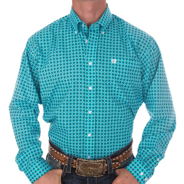 Shop Men's Cinch Blue and Black Box Print Buttondown Shirt