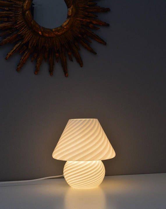 Murano Midcentury Vintage Mushroom Table Lamp With Swirled Etsy Lamp Table Lamp Mushroom Lamp