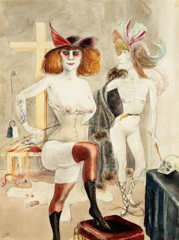 Mme. Clessi silhouette inspiration. Wearing turn of the century undergarments instead of a dress. Perhaps a dressing gown.  Otto Dix.