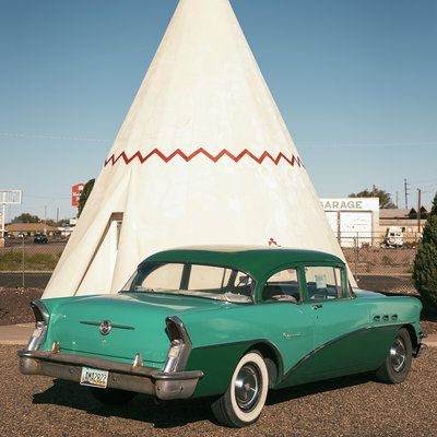 1955 Buick Super -- Parked at  The classic Wigwam Hotel in Holbrook, AZ. -- 35 Iconic Southwest Sights - Sunset magazine website -- saved 10-19-16