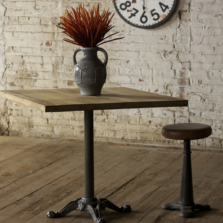 Wooden Top Dining Table With Cast Iron Base   Square