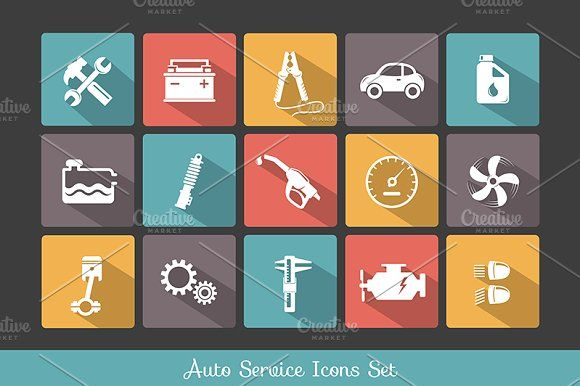 Auto service icons set by Teneresa on @creativemarket