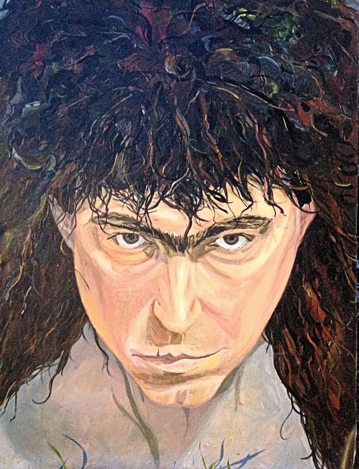 """""""Self-Portrait"""" by Sandy Lawson (c) 1991.  Acrylic on Canvas. 36"""" x 48""""."""
