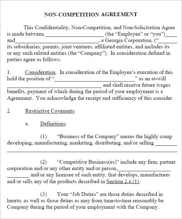 Non Compete Agreement New York Template New York Non Compete