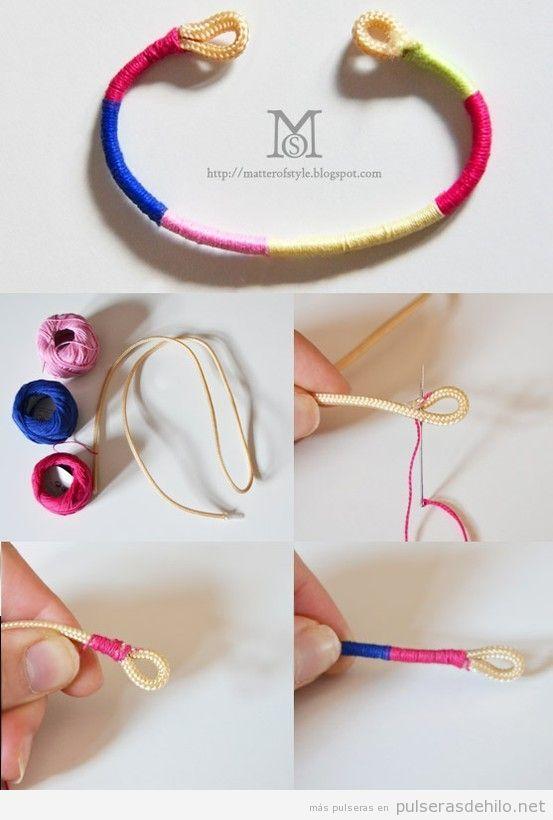 tutorial paso a paso, cómo hacer una pulsera de cuerda e hilo, muy fácil