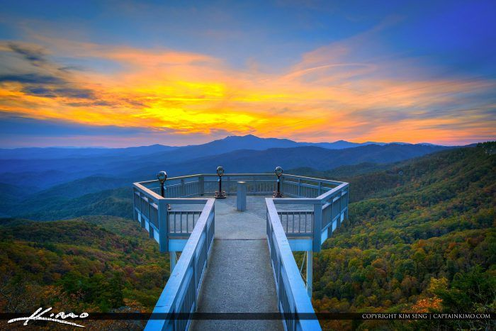 Beauitful sunset of the Blue Ridge Mountain from the Blowing Rock in North Carolina. HDR image created in Photomatix Pro and Aurora HDR software.
