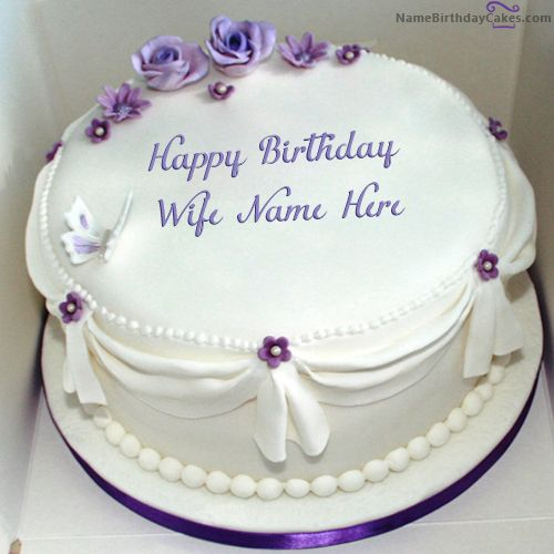 Write Name On Voilet Roses Birthday Cake For Wife
