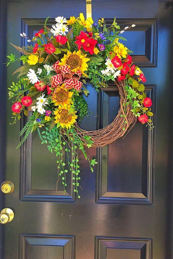 Summer Front Door Wreath: Spring Wreath Summer Door Wreath Wreath Front By