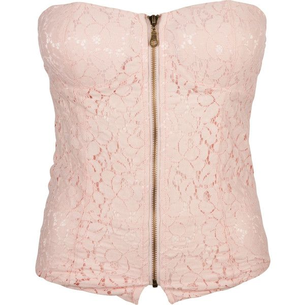 FULL TILT Lace Zip Womens Corset ($22) ❤ liked on Polyvore featuring tops, corsets, shirts, tube tops, tanks, pink top, zip front corset, pink tube top, corset shirt and lace shirt