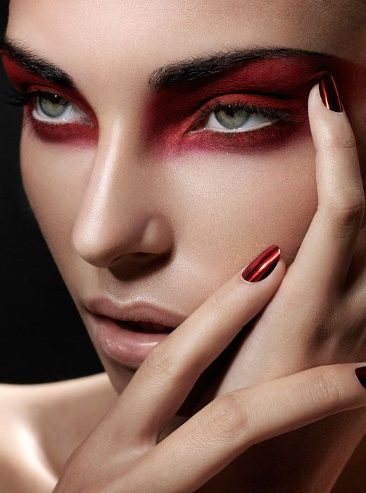 Stunning beauty photography by Davolo Steiner. Beautiful red make up looks, blood red lips, enticing eyes made up in red, metallic red nails and more!  #RedInspired #2015