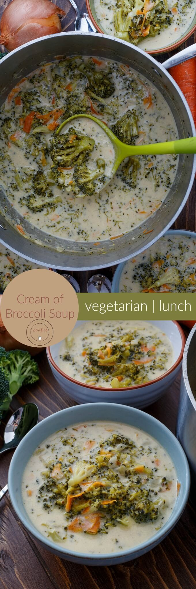 Cream of Broccoli Soup | http://thecookiewriter.com | @thecookiewriter | #soup | Hearty and filling, this vegetarian cream of broccoli soup is perfect on a cold winter's day!