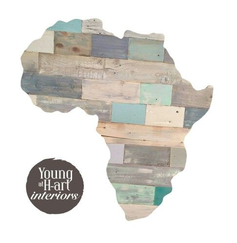 Africa from reclaimed wood and then techniqued by Ashleigh Papas artist. Fourways, JHB, South Africa
